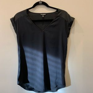 Express black short sleeve silky blouse size xs